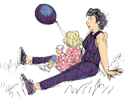 Mother and child with balloon