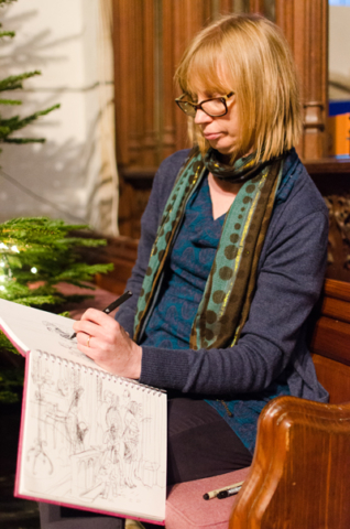 Ruth sketching at St Marys